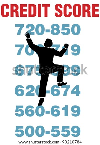Business person climbing credit report to achieve better rating scores - stock vector