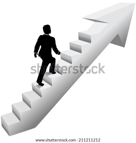 Business person climbing stairway arrow to success - stock vector