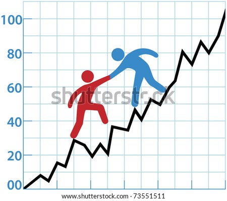 Business person helping red symbol over rough spot of loss to grow to profit - stock vector