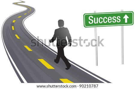 Business person walks past Success sign on winding highway to future progress - stock vector