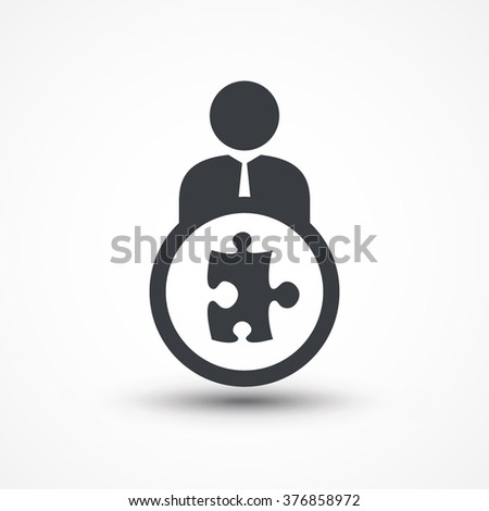 Business person with PUZZLE flat icon - stock vector
