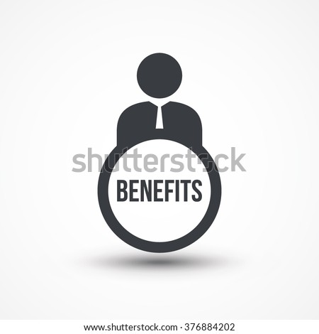 Business person with text BENEFITS flat icon - stock vector