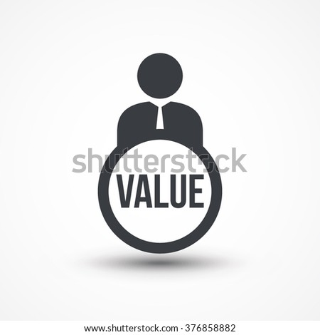 Business person with text VALUE flat icon - stock vector