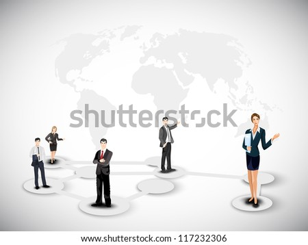 Business persons on abstract world map background. EPS 10. - stock vector
