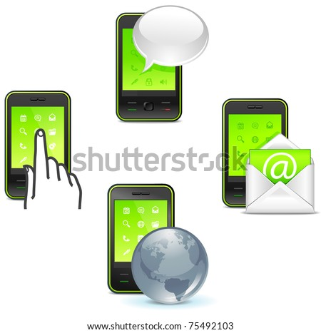 business phone icons - to call, text, send letter and internet - stock vector