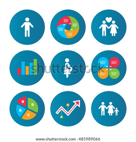 Business pie chart. Growth curve. Presentation buttons. Family lifetime icons. Couple love, pregnancy and birth of a child symbols. Human male person sign. Data analysis. Vector