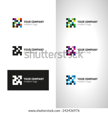 Business pixel Icons Set - Isolated On White Background - Vector Illustration  - stock vector