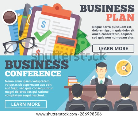 Business plan and business conference flat illustration concepts set. Flat design concepts for web banners, web sites, printed materials, infographics. Creative vector illustration - stock vector
