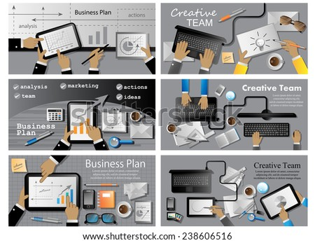 Business Plan And Creative Team Flyer Template - Vector Illustration, Graphic Design, Editable For Your Design - stock vector