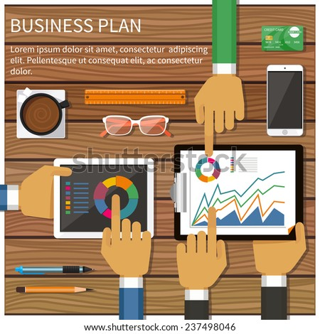 Business plan with creative businessman showing positive growth in flat design style - stock vector