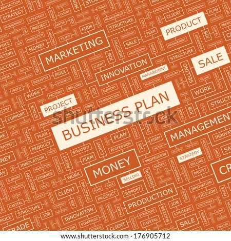BUSINESS PLAN. Word cloud illustration. Tag cloud concept collage. Vector illustration.