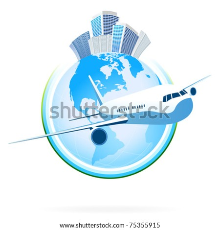 Business planet icon with aircraft for your design - stock vector
