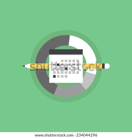 Business planning and office day schedule, personal time management organization process. Flat icon modern design style vector illustration concept. - stock vector