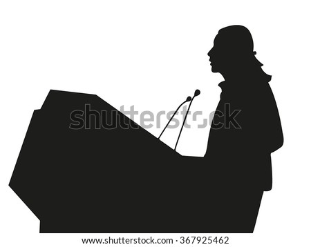 Business/political speaker silhouette vector - stock vector