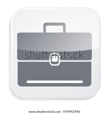 Business portfolio. White glass icon - stock vector