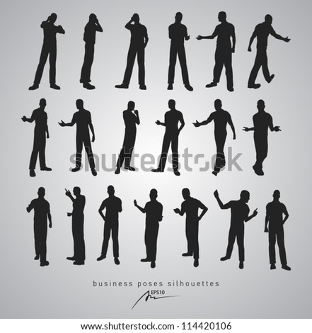 business poses silhouettes - vector illustration - stock vector