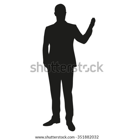 Business presentation, businessman vector silhouette