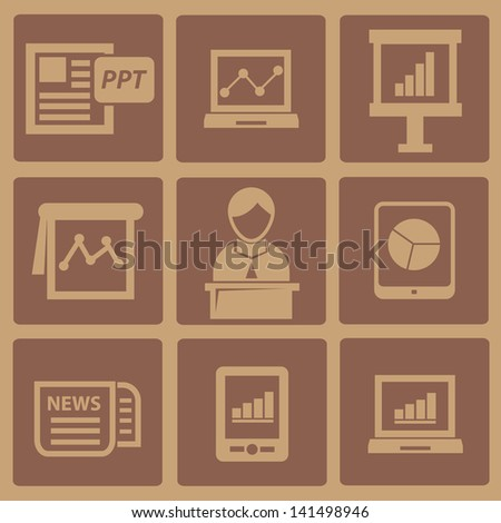 Business presentation old icons,vector - stock vector