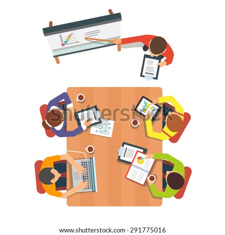 Business presentation or conference session. Team leader presenting future sales graph. Flat vector illustration isolated on white background. - stock vector
