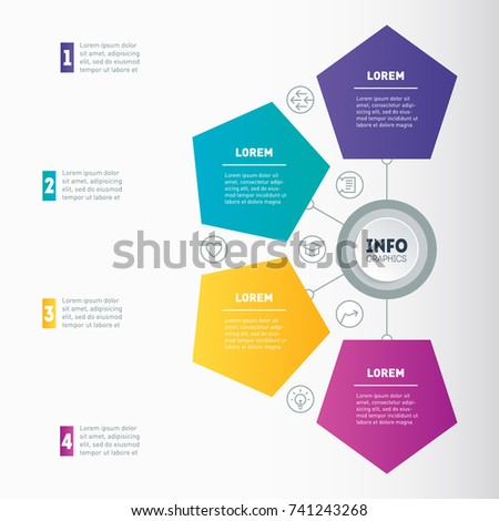 Business Presentation Infographic 4 Options Example Stock Vector
