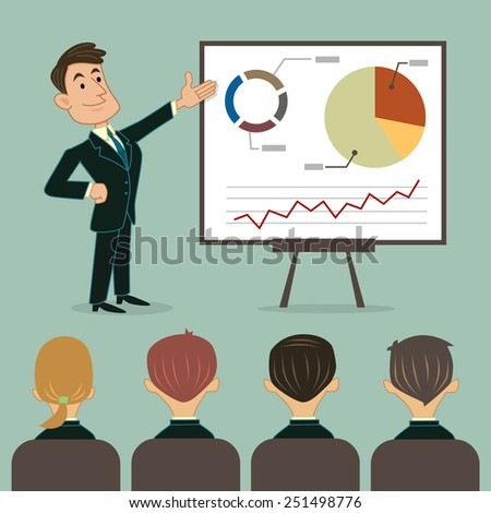 Business presentation to audience - stock vector