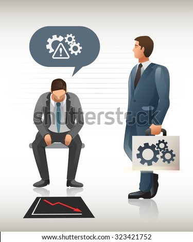 Business problem which needs help.Someone faced a problem in businesses.  Problem that need to rescued.Business Consultants.Solve them on the spot.Illustration for idea of business.Graphic design. - stock vector