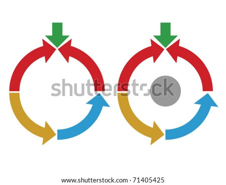 Business process diagram, conflict - stock vector