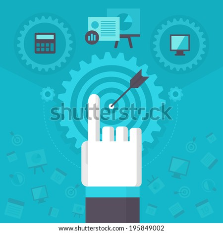 Business process management. Company workflow managing and organizing. Business concept. - stock vector