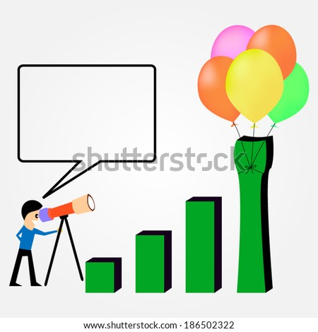 Business profit growth graph chart with reflection, isolated on white background. - stock vector