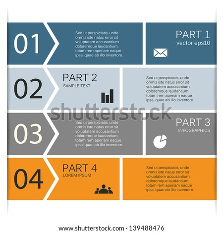 Business project template with arrows and text areas - stock vector