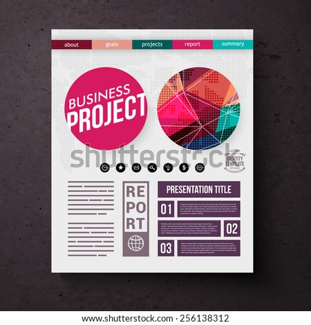 Business Project title page vector template with colorful geometric round motifs, editable text and tabs over a square black background - stock vector