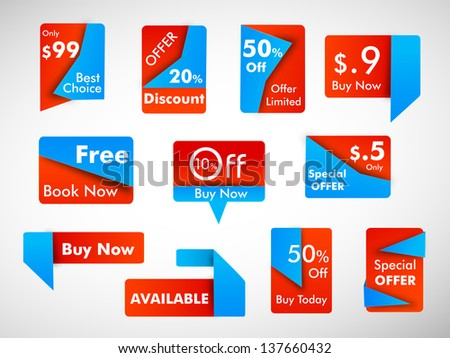 Business promotional badges, stickers, labels or tags with discount offer. EPS 10. - stock vector