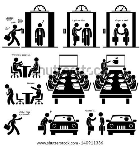 Business Proposal Idea Presentation Sales Elevator Pitch Investor Venture Capitalist Meeting Stick Figure Pictogram Icon - stock vector