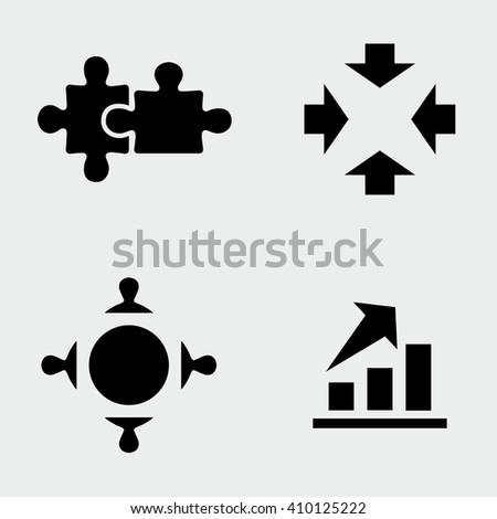 Business Puzzle Icons - stock vector