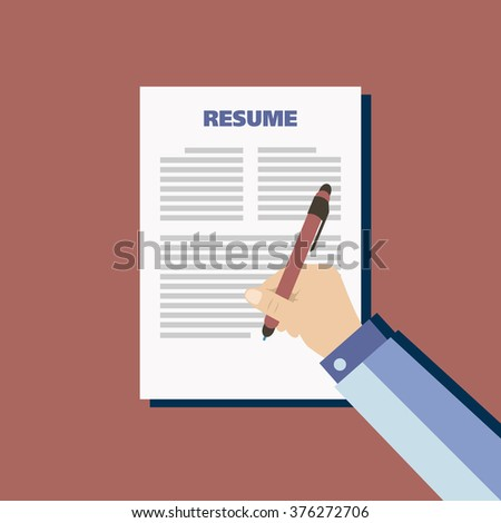 Business red background with resume, vector - stock vector