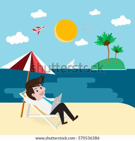 Business relax on beach with tablet.