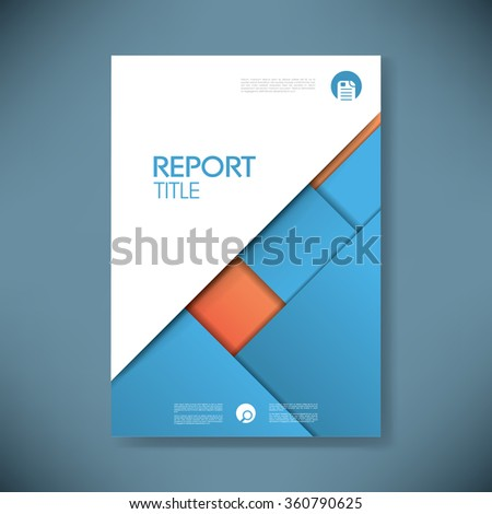 business report cover template on blue stock vector 360790625, Presentation templates