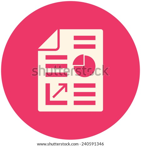 Business report icon, flat design - stock vector