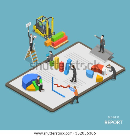 Business report isometric flat vector concept. Team of businessmen are constructing business report.  - stock vector