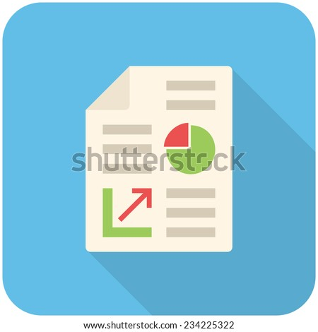 Business report, modern flat icon with long shadow - stock vector
