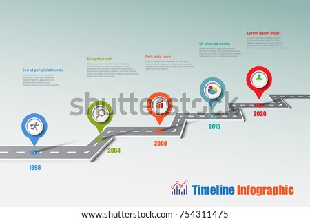 business road map timeline infographic icons designed for abstract background template milestone element modern diagram process