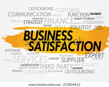 Business Satisfaction word cloud, business concept - stock vector