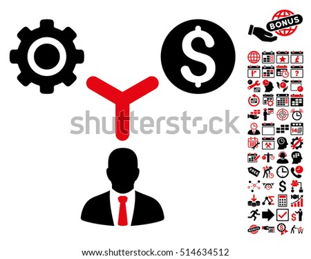 Business Scheme pictograph with bonus calendar and time management images. Vector illustration style is flat iconic bicolor symbols, intensive red and black colors, white background.