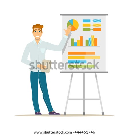 Business seminar, lecture or presentation. Business teacher standing in front of whiteboard with tablet computer in hand. Modern flat vector illustration. Isolated on white background - stock vector