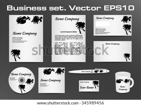 Business set, black and white inkblot logotype design for corporate identity of your company. Vector illustration EPS10