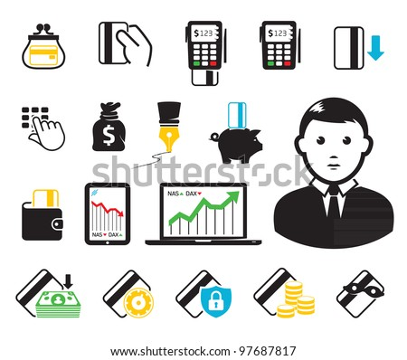 Business set.Credit cards and pos-terminal. - stock vector