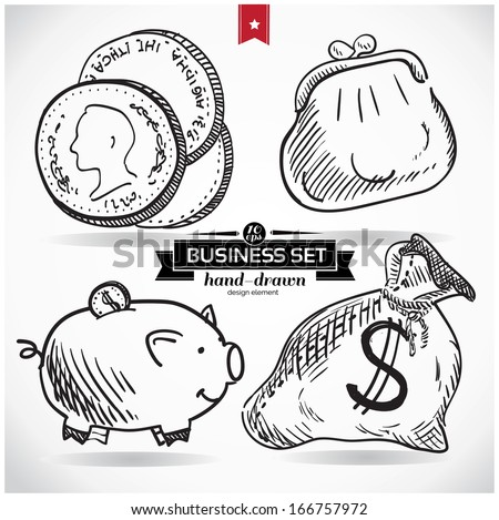 Business set  hand drawn, sketchy vector illustration; isolated on background. - stock vector