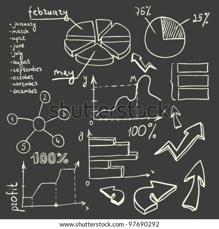 business set of graphics and diagrams - stock vector