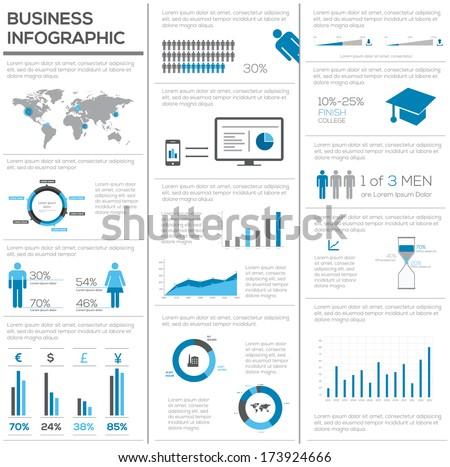Business set of Infographics elements. Vector - stock vector