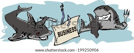 business sharks want to devour business - stock vector